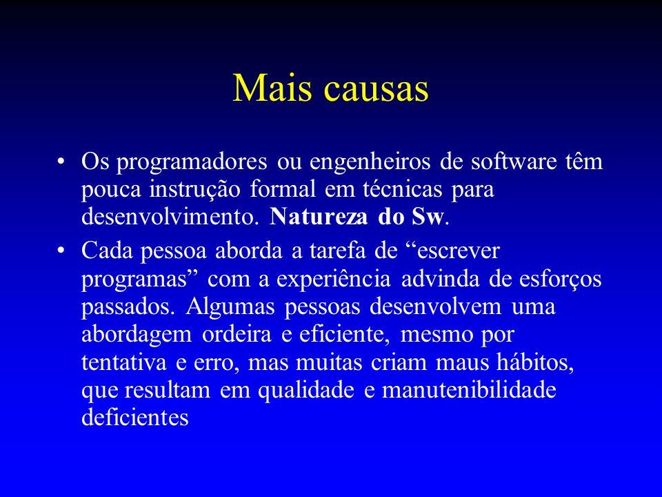 Mais causas Os programadores ou engenheiros de software têm pouca instrução formal em técnicas para desenvolvimento. Natureza do Sw. Cada pessoa abord