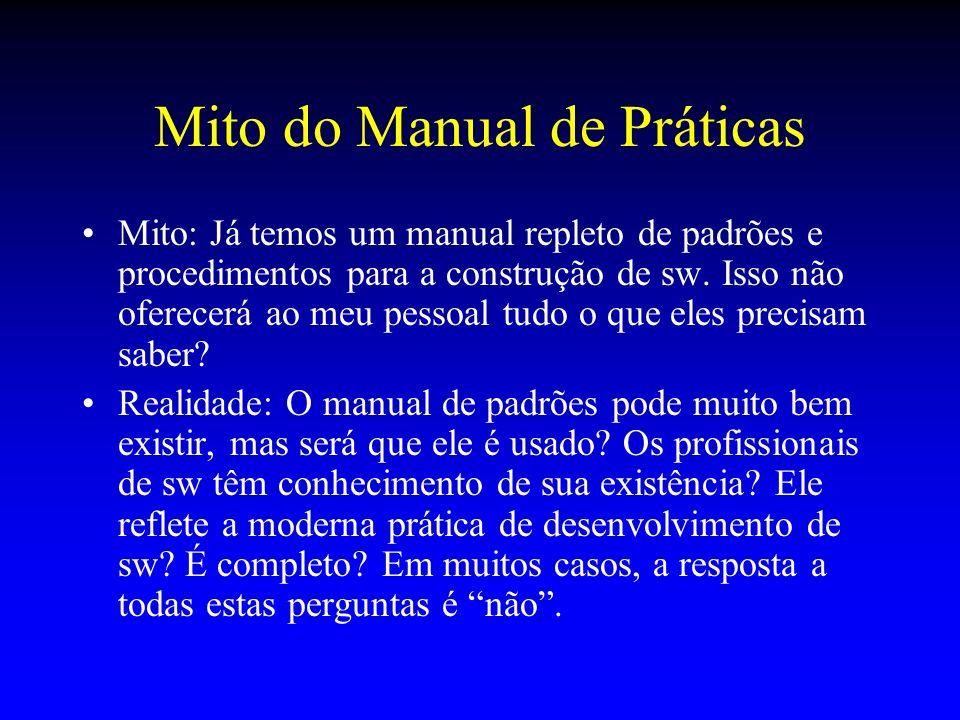 Mito do Manual de Práticas Mito: Já temos um manual repleto de padrões e procedimentos para a construção de sw. Isso não oferecerá ao meu pessoal tudo