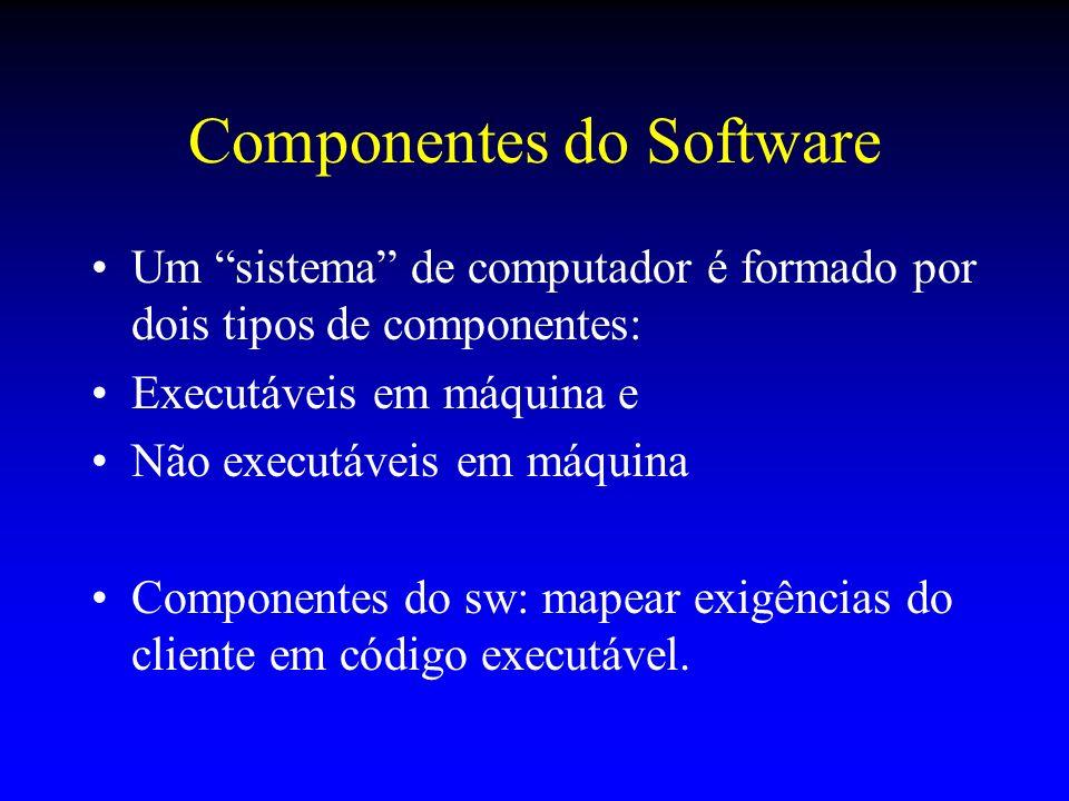 Componentes do Software Um sistema de computador é formado por dois tipos de componentes: Executáveis em máquina e Não executáveis em máquina Componen