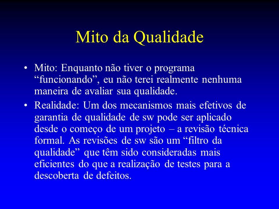Mito da Qualidade Mito: Enquanto não tiver o programa funcionando, eu não terei realmente nenhuma maneira de avaliar sua qualidade. Realidade: Um dos