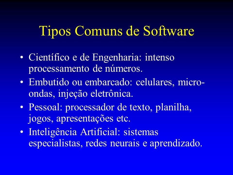 Tipos Comuns de Software Científico e de Engenharia: intenso processamento de números. Embutido ou embarcado: celulares, micro- ondas, injeção eletrôn