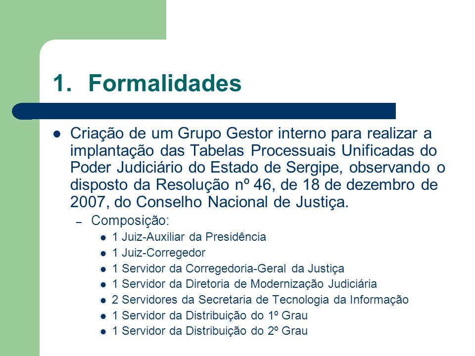 1.Formalidades Criação de um Grupo Gestor interno para realizar a implantação das Tabelas Processuais Unificadas do Poder Judiciário do Estado de Serg