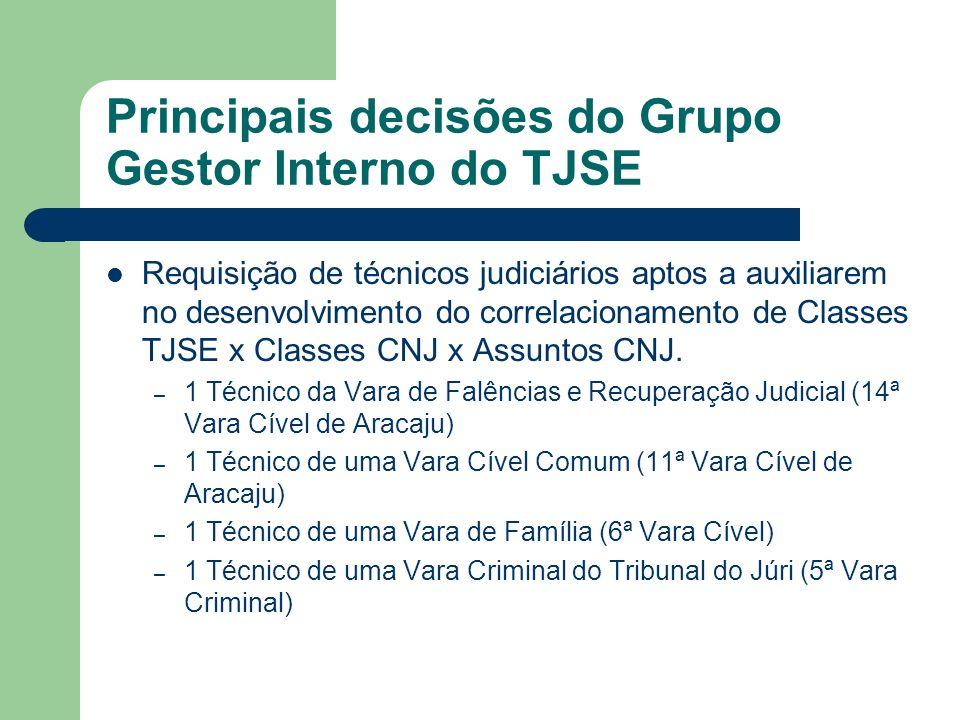Requisição de técnicos judiciários aptos a auxiliarem no desenvolvimento do correlacionamento de Classes TJSE x Classes CNJ x Assuntos CNJ. – 1 Técnic