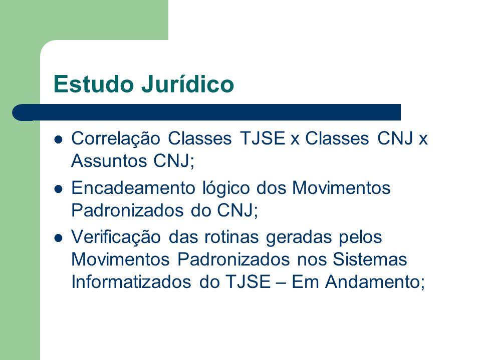 Estudo Jurídico Correlação Classes TJSE x Classes CNJ x Assuntos CNJ; Encadeamento lógico dos Movimentos Padronizados do CNJ; Verificação das rotinas