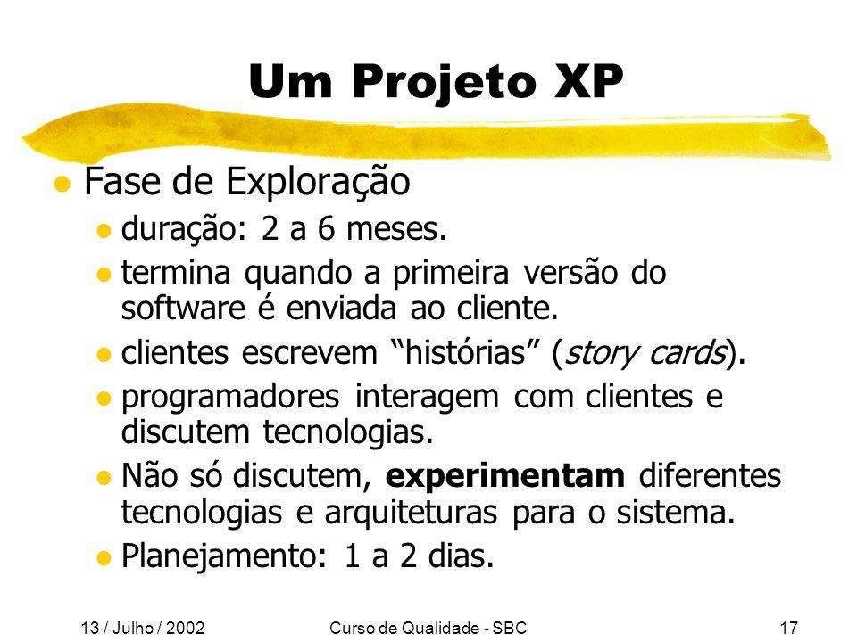 13 / Julho / 2002 Curso de Qualidade - SBC17 Um Projeto XP l Fase de Exploração l duração: 2 a 6 meses.