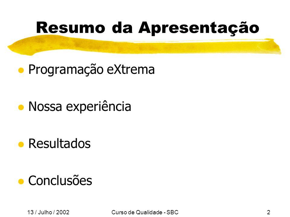 13 / Julho / 2002 Curso de Qualidade - SBC13 A Quem se Destina XP.