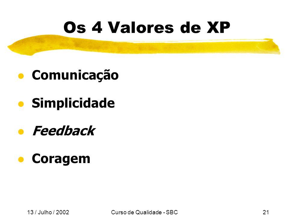 13 / Julho / 2002 Curso de Qualidade - SBC21 Os 4 Valores de XP l Comunicação l Simplicidade l Feedback l Coragem