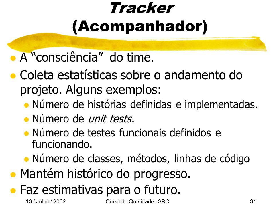 13 / Julho / 2002 Curso de Qualidade - SBC31 Tracker (Acompanhador) l A consciência do time.