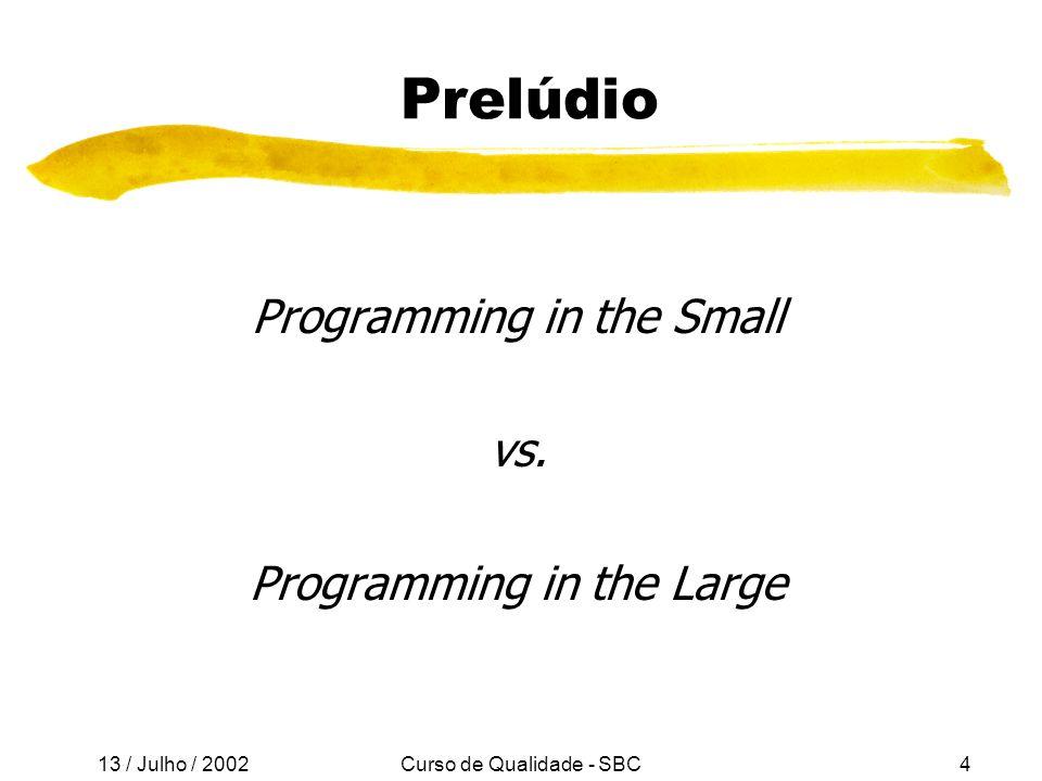 13 / Julho / 2002 Curso de Qualidade - SBC15 Princípios Básicos de XP l Feedback rápido l Simplicidade é o melhor negócio l Mudanças incrementais l Carregue a bandeira das mudanças (Embrace change) l Alta qualidade
