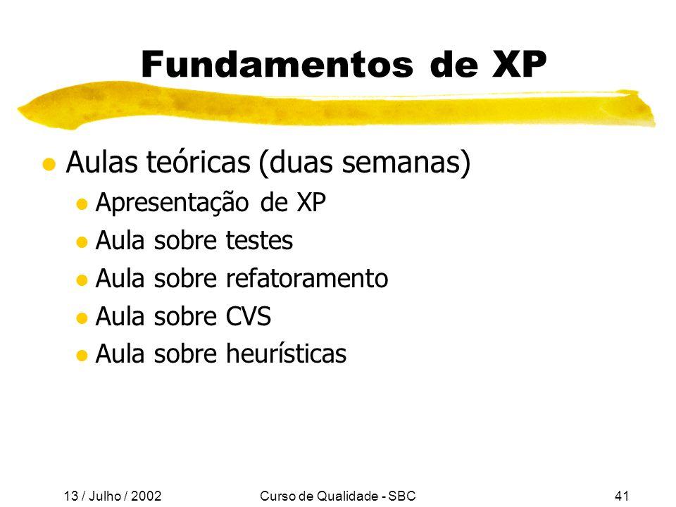 13 / Julho / 2002 Curso de Qualidade - SBC41 Fundamentos de XP l Aulas teóricas (duas semanas) l Apresentação de XP l Aula sobre testes l Aula sobre refatoramento l Aula sobre CVS l Aula sobre heurísticas