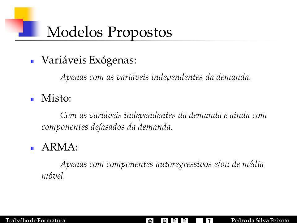 Pedro da Silva PeixotoTrabalho de Formatura Modelos Propostos Variáveis Exógenas: Apenas com as variáveis independentes da demanda. Misto: Com as vari