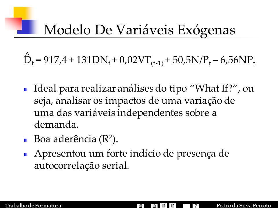 Pedro da Silva PeixotoTrabalho de Formatura Modelo De Variáveis Exógenas Ideal para realizar análises do tipo What If?, ou seja, analisar os impactos