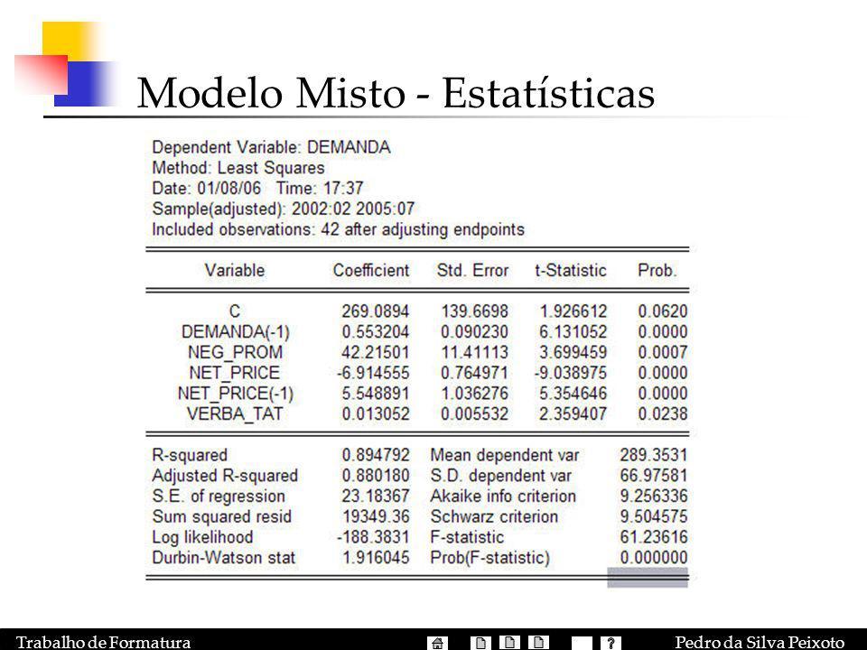 Pedro da Silva PeixotoTrabalho de Formatura Modelo Misto - Estatísticas