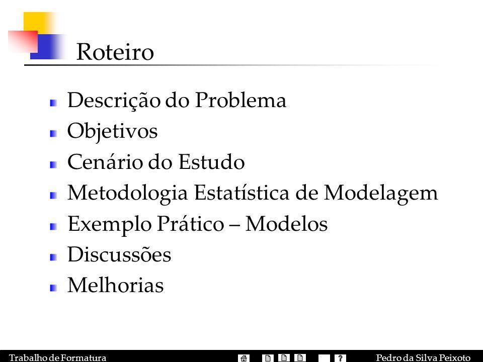 Pedro da Silva PeixotoTrabalho de Formatura Roteiro Descrição do Problema Objetivos Cenário do Estudo Metodologia Estatística de Modelagem Exemplo Prá