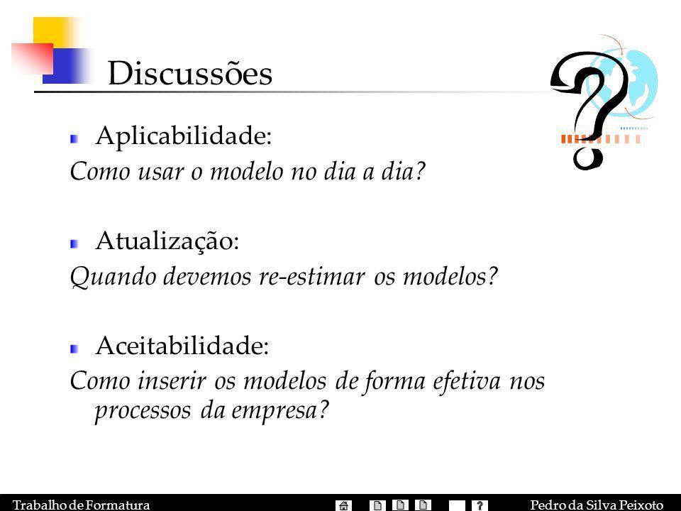 Pedro da Silva PeixotoTrabalho de Formatura Discussões Aplicabilidade: Como usar o modelo no dia a dia? Atualização: Quando devemos re-estimar os mode