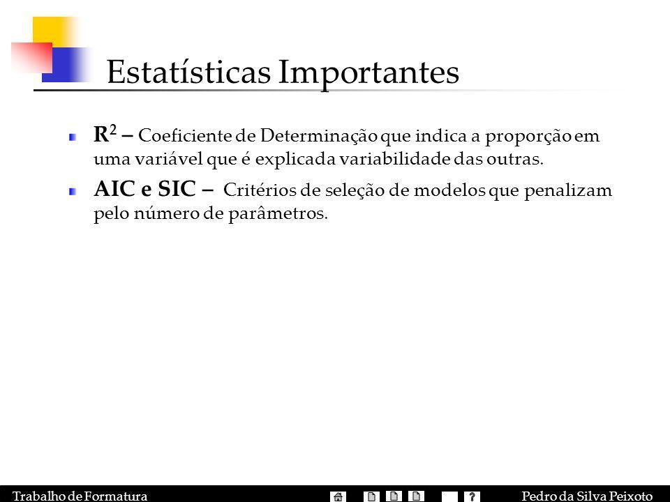 Pedro da Silva PeixotoTrabalho de Formatura Estatísticas Importantes R 2 – Coeficiente de Determinação que indica a proporção em uma variável que é ex