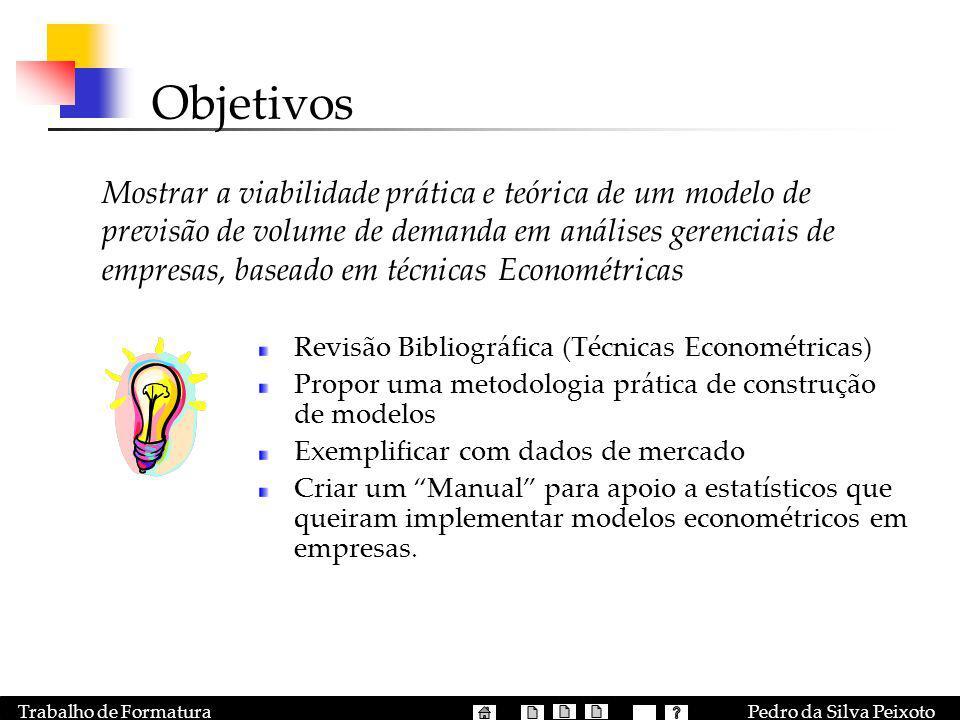 Pedro da Silva PeixotoTrabalho de Formatura Objetivos Mostrar a viabilidade prática e teórica de um modelo de previsão de volume de demanda em análise