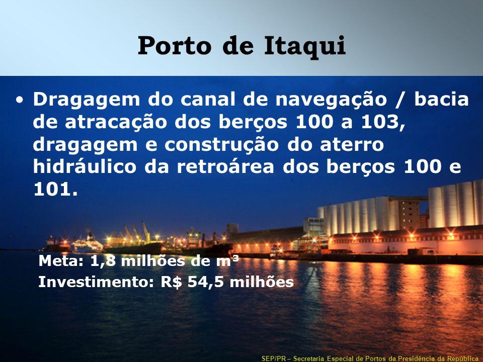 SEP/PR – Secretaria Especial de Portos da Presidência da República Porto de Itaqui Dragagem do canal de navegação / bacia de atracação dos berços 100
