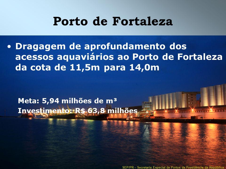 SEP/PR – Secretaria Especial de Portos da Presidência da República Porto de Fortaleza Dragagem de aprofundamento dos acessos aquaviários ao Porto de F