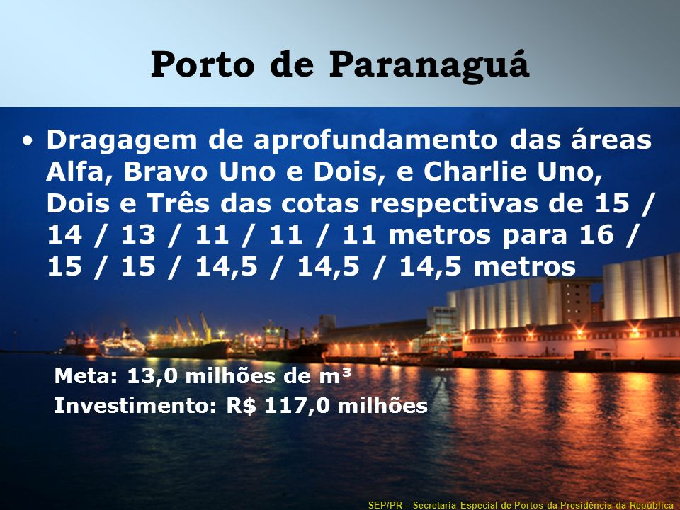 SEP/PR – Secretaria Especial de Portos da Presidência da República Porto de Paranaguá Dragagem de aprofundamento das áreas Alfa, Bravo Uno e Dois, e C