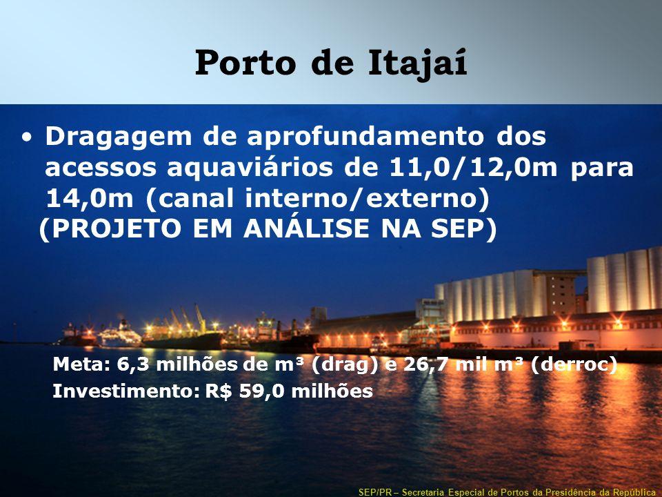 SEP/PR – Secretaria Especial de Portos da Presidência da República Porto de Itajaí Dragagem de aprofundamento dos acessos aquaviários de 11,0/12,0m pa
