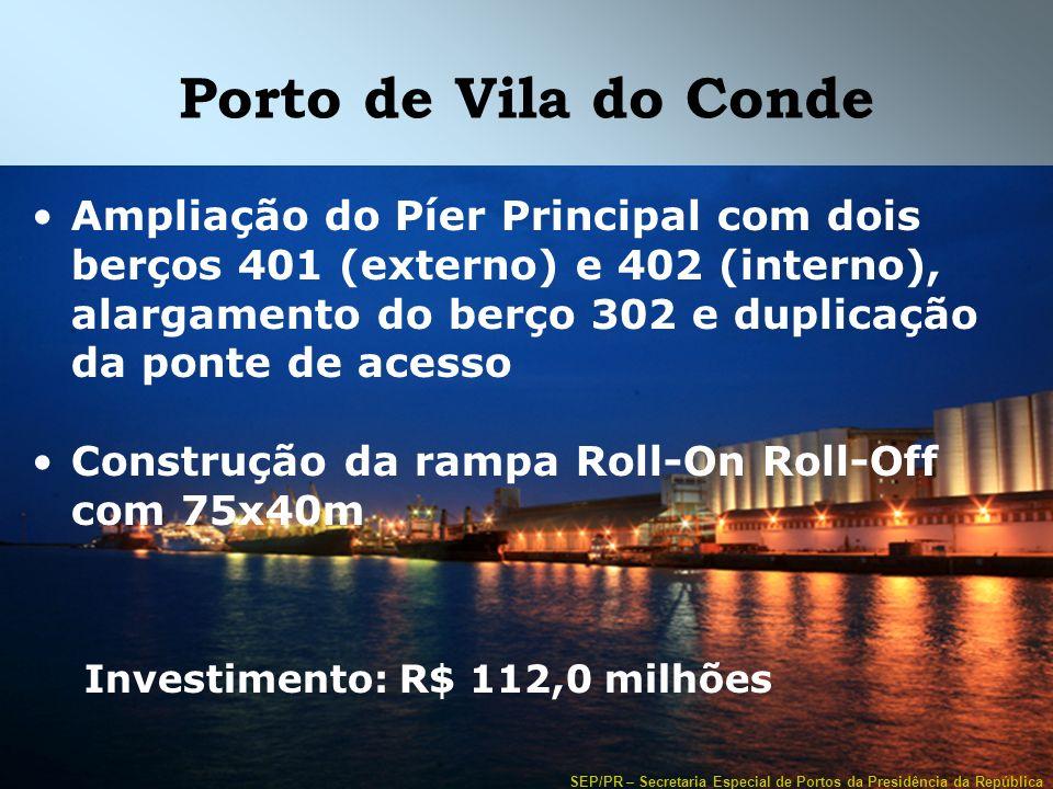SEP/PR – Secretaria Especial de Portos da Presidência da República Porto de Vila do Conde Ampliação do Píer Principal com dois berços 401 (externo) e