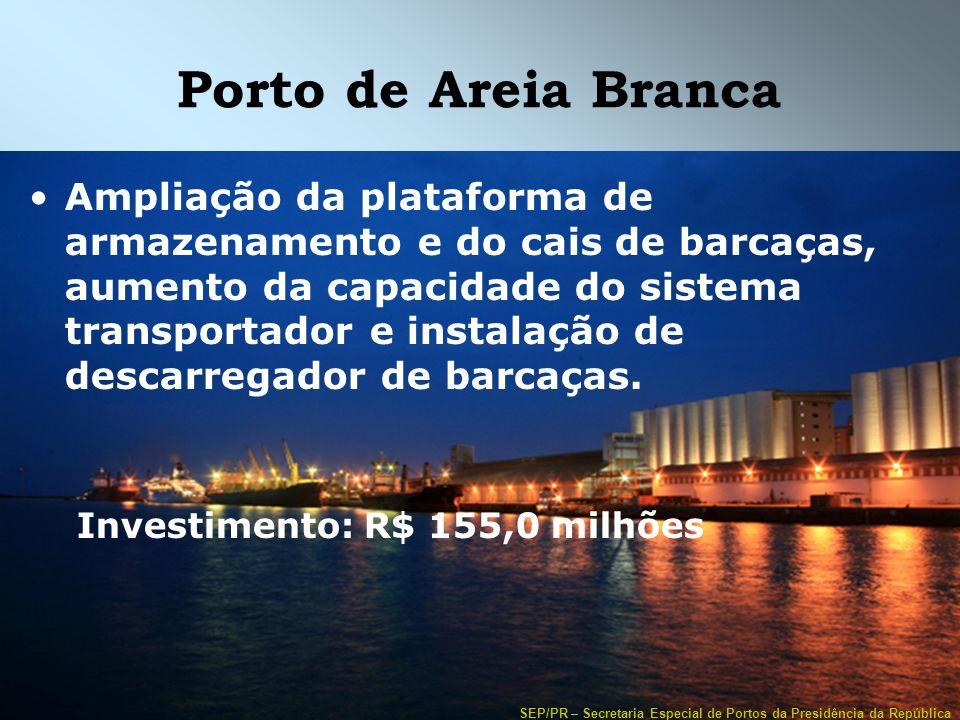 SEP/PR – Secretaria Especial de Portos da Presidência da República Porto de Areia Branca Ampliação da plataforma de armazenamento e do cais de barcaça