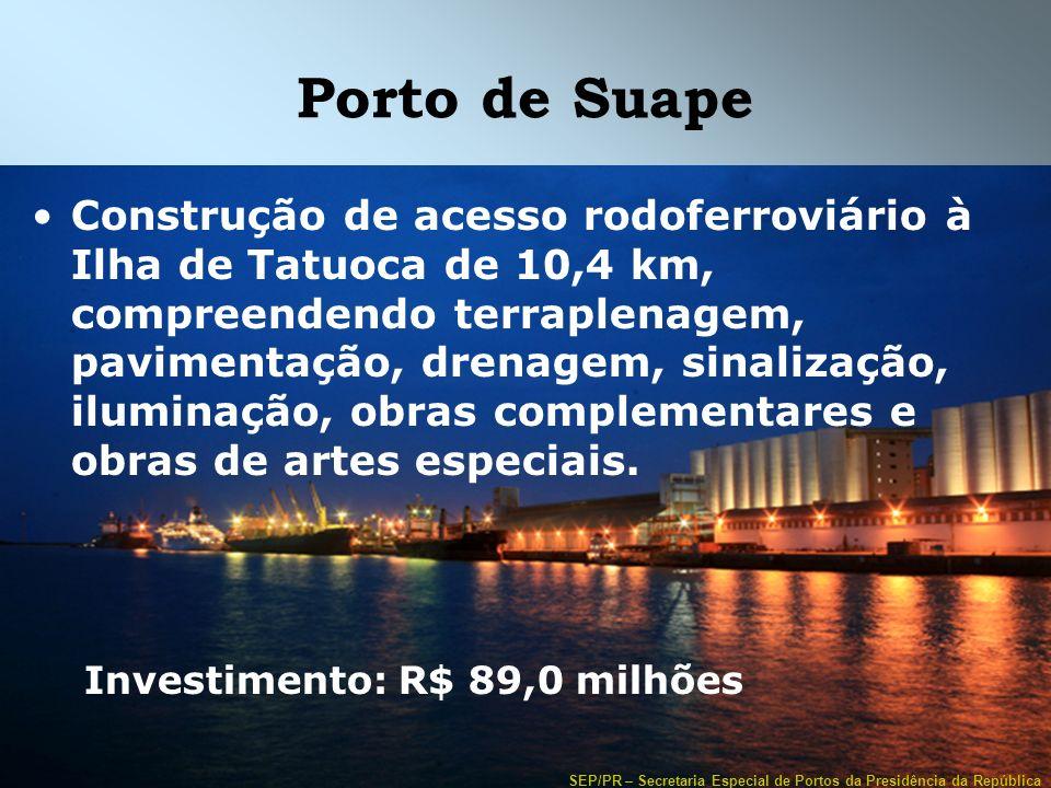 SEP/PR – Secretaria Especial de Portos da Presidência da República Porto de Suape Construção de acesso rodoferroviário à Ilha de Tatuoca de 10,4 km, c