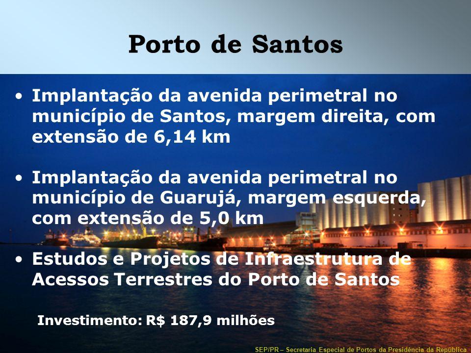SEP/PR – Secretaria Especial de Portos da Presidência da República Porto de Santos Implantação da avenida perimetral no município de Santos, margem di