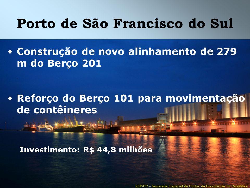 SEP/PR – Secretaria Especial de Portos da Presidência da República Porto de São Francisco do Sul Construção de novo alinhamento de 279 m do Berço 201