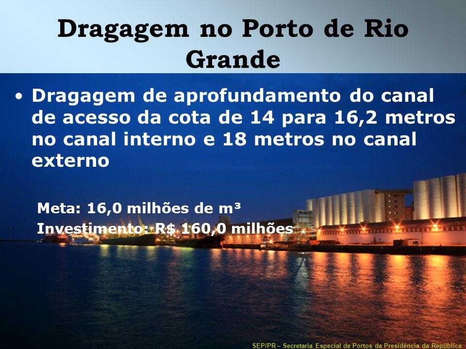 SEP/PR – Secretaria Especial de Portos da Presidência da República Dragagem no Porto de Rio Grande Dragagem de aprofundamento do canal de acesso da co