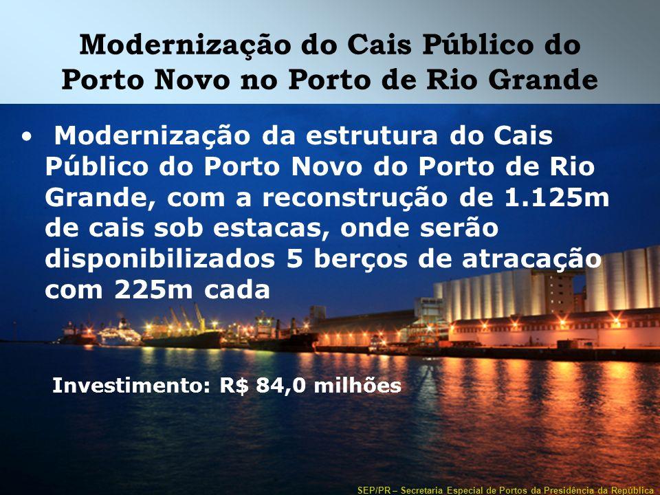 SEP/PR – Secretaria Especial de Portos da Presidência da República Modernização do Cais Público do Porto Novo no Porto de Rio Grande Modernização da e
