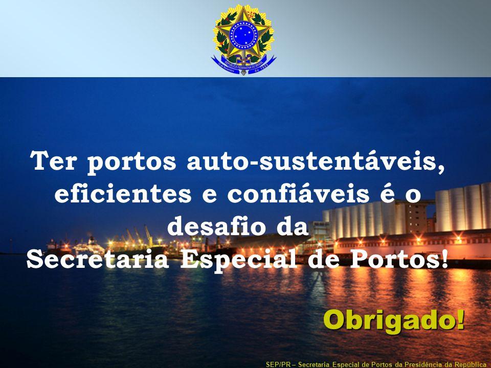 SEP/PR – Secretaria Especial de Portos da Presidência da República Ter portos auto-sustentáveis, eficientes e confiáveis é o desafio da Secretaria Esp