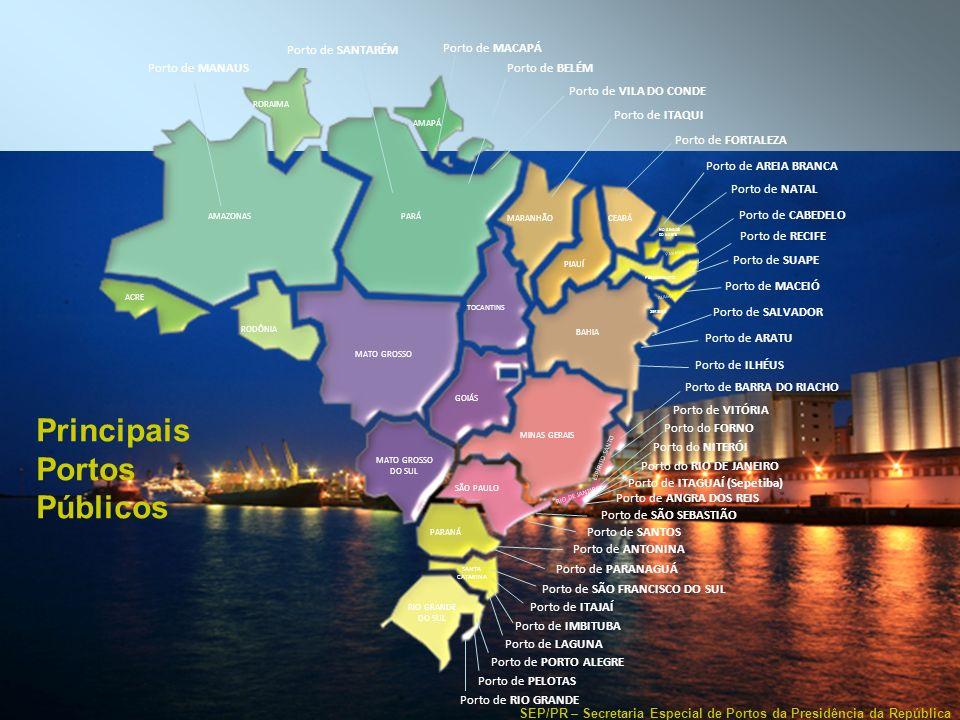 SEP/PR – Secretaria Especial de Portos da Presidência da República Dinâmica do Comércio Mundial – (R)evolução Mundial dos Navios Porta-contêineres 8.600 TEU 5 a Geração (2000 - 2005) Super Post-Panamax 4 a Geração (1986 - 2000) Post-Panamax 4.848 TEU 3 a Geração (1985) Panamax 3.220 TEU 2 a Geração (1970 - 1980) 2.305 TEU 1 a Geração (Pré 1960 - 1970) Ideal X 1.700 TEU Full Cellular 14.000 TEU 6 a Geração (2006 - ?) Super-size Maersk