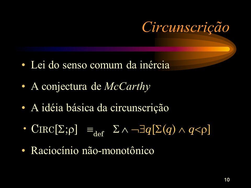 10 Circunscrição Lei do senso comum da inércia A conjectura de McCarthy A idéia básica da circunscrição C IRC [ ; ] def q [ ( q ) q ] Raciocínio não-m