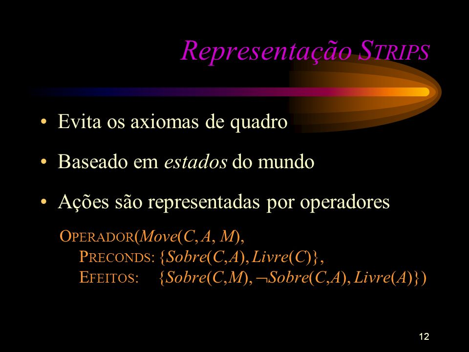 12 Representação S TRIPS Evita os axiomas de quadro Baseado em estados do mundo Ações são representadas por operadores O PERADOR (Move(C, A, M), P REC