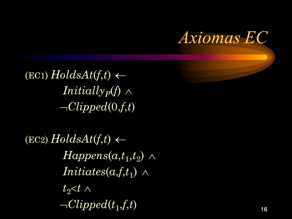 16 Axiomas EC ( EC1 ) HoldsAt ( f, t ) Initially P ( f ) Clipped (0, f, t ) ( EC2 ) HoldsAt ( f, t ) Happens ( a, t 1, t 2 ) Initiates ( a, f, t 1 ) t
