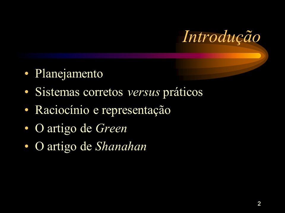 2 Introdução Planejamento Sistemas corretos versus práticos Raciocínio e representação O artigo de Green O artigo de Shanahan