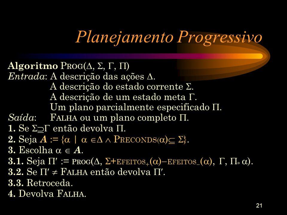 21 Planejamento Progressivo Algoritmo P ROG (,,, ) Entrada : A descrição das ações. A descrição do estado corrente. A descrição de um estado meta. Um