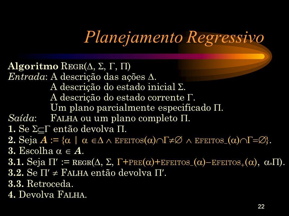 22 Planejamento Regressivo Algoritmo R EGR (,,, ) Entrada : A descrição das ações. A descrição do estado inicial. A descrição do estado corrente. Um p