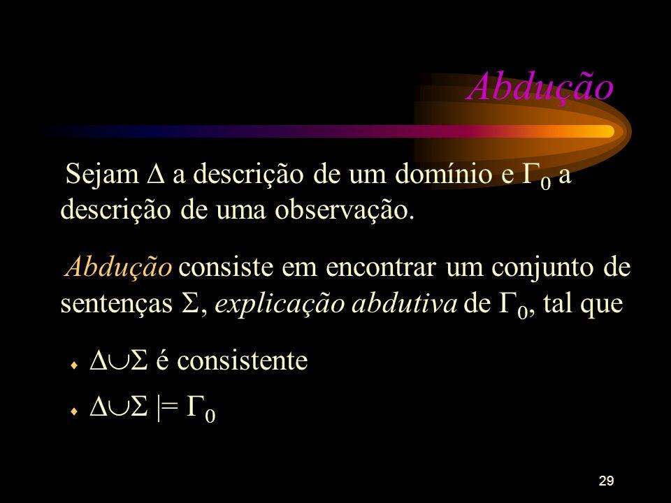 29 Abdução Sejam a descrição de um domínio e 0 a descrição de uma observação. Abdução consiste em encontrar um conjunto de sentenças, explicação abdut