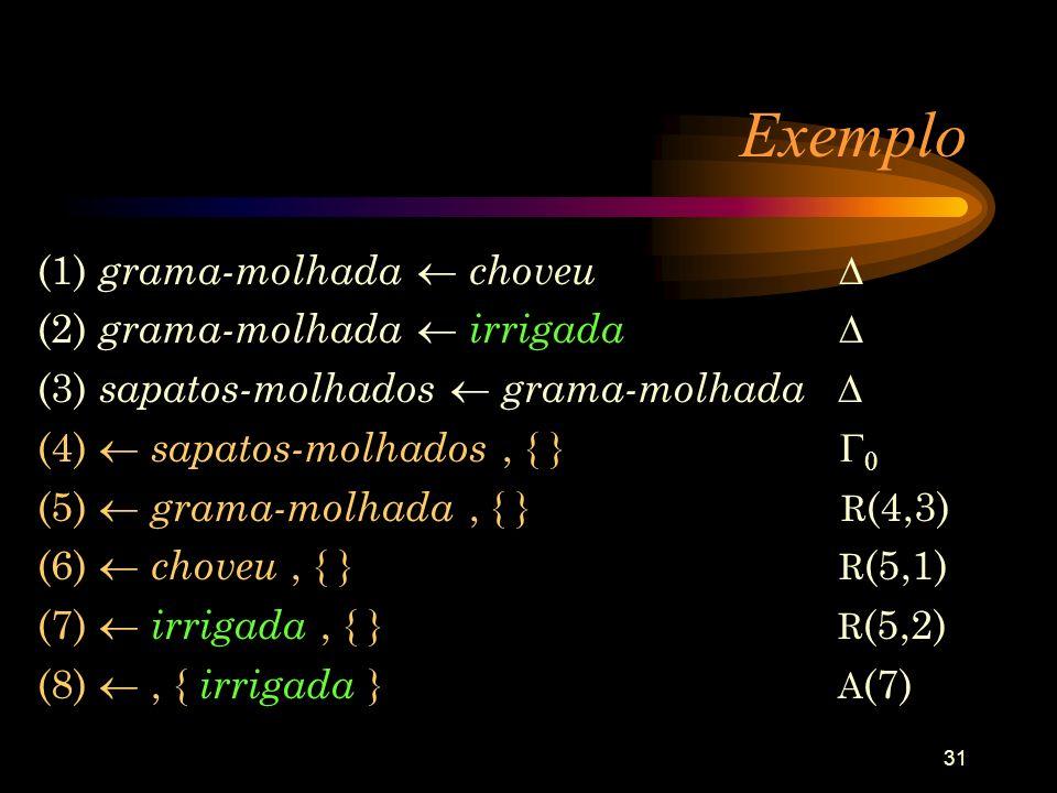 31 Exemplo (1) grama-molhada choveu (2) grama-molhada irrigada (3) sapatos-molhados grama-molhada (4) sapatos-molhados, { } 0 (5) grama-molhada, { } R