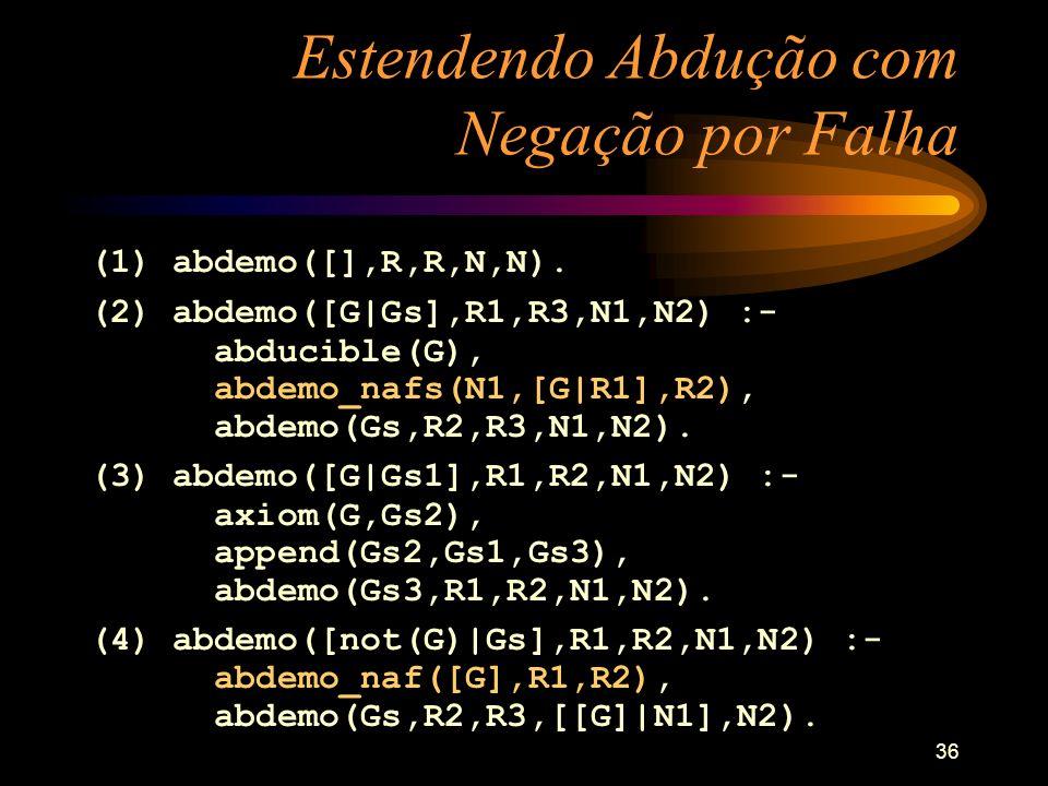 36 Estendendo Abdução com Negação por Falha (1) abdemo([],R,R,N,N). (2) abdemo([G|Gs],R1,R3,N1,N2) :- abducible(G), abdemo_nafs(N1,[G|R1],R2), abdemo(