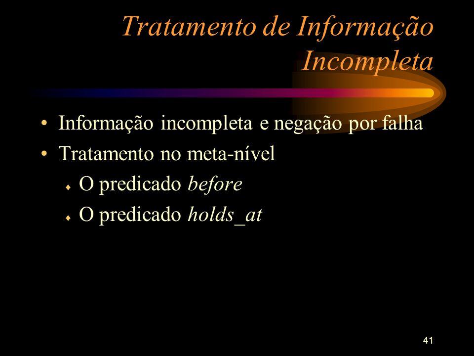 41 Tratamento de Informação Incompleta Informação incompleta e negação por falha Tratamento no meta-nível O predicado before O predicado holds_at