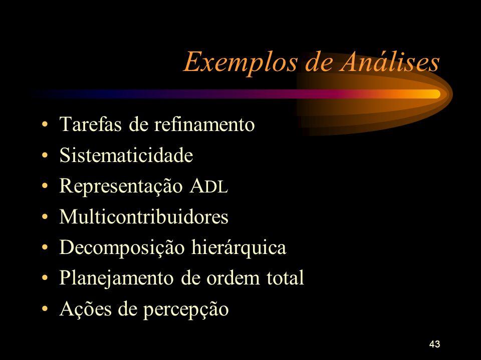 43 Exemplos de Análises Tarefas de refinamento Sistematicidade Representação A DL Multicontribuidores Decomposição hierárquica Planejamento de ordem t