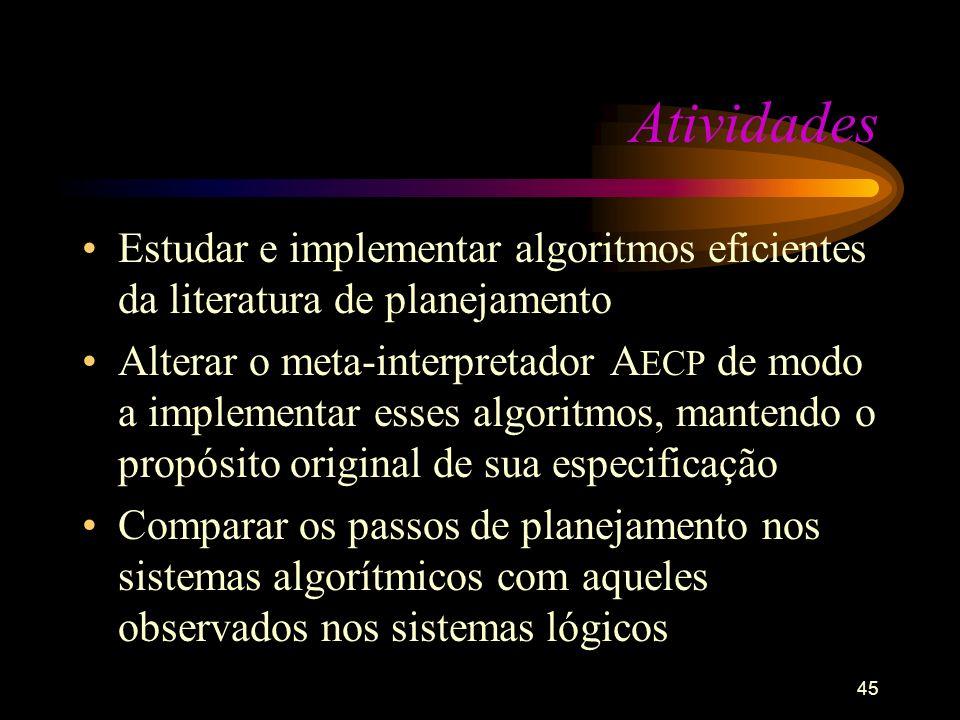 45 Atividades Estudar e implementar algoritmos eficientes da literatura de planejamento Alterar o meta-interpretador A ECP de modo a implementar esses