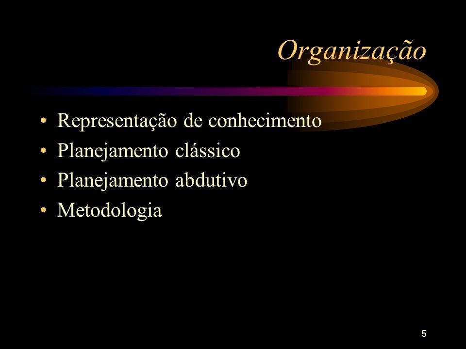 5 Organização Representação de conhecimento Planejamento clássico Planejamento abdutivo Metodologia