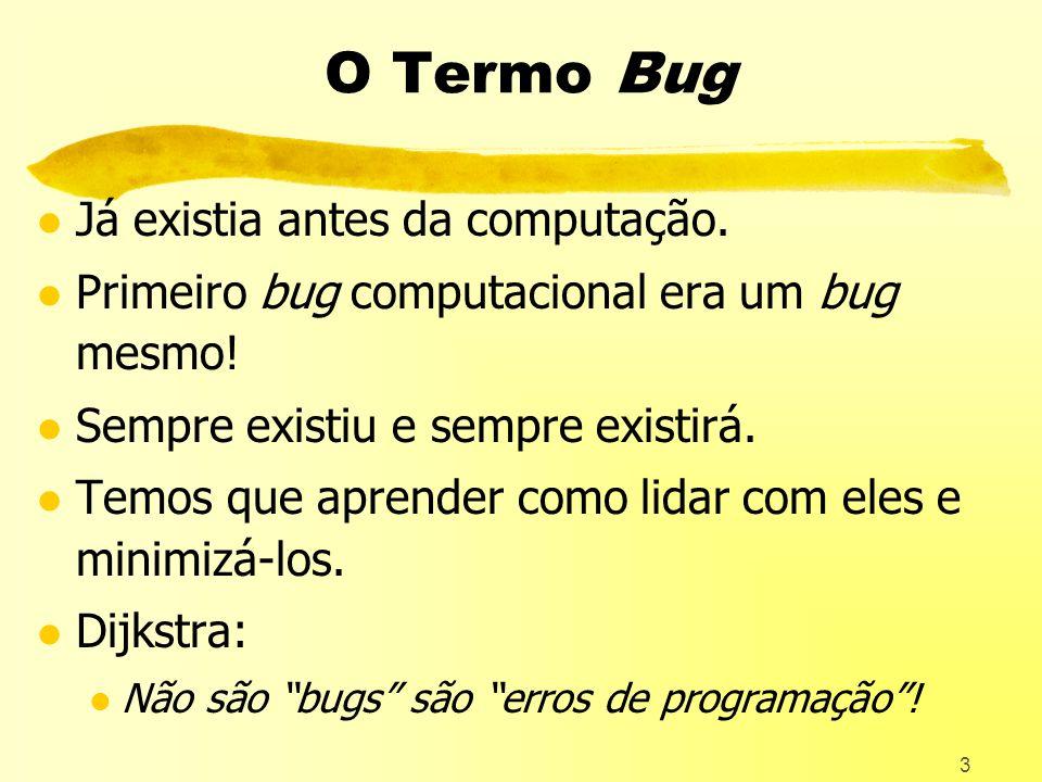 3 O Termo Bug l Já existia antes da computação.l Primeiro bug computacional era um bug mesmo.
