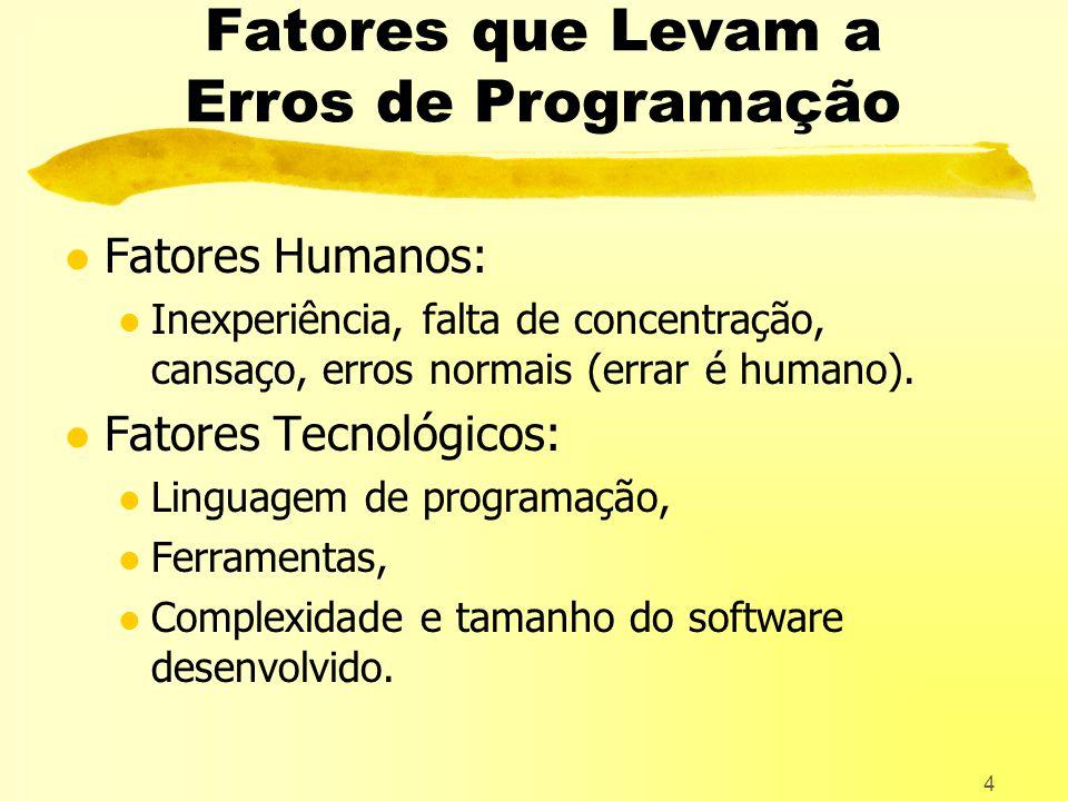 4 Fatores que Levam a Erros de Programação l Fatores Humanos: l Inexperiência, falta de concentração, cansaço, erros normais (errar é humano).