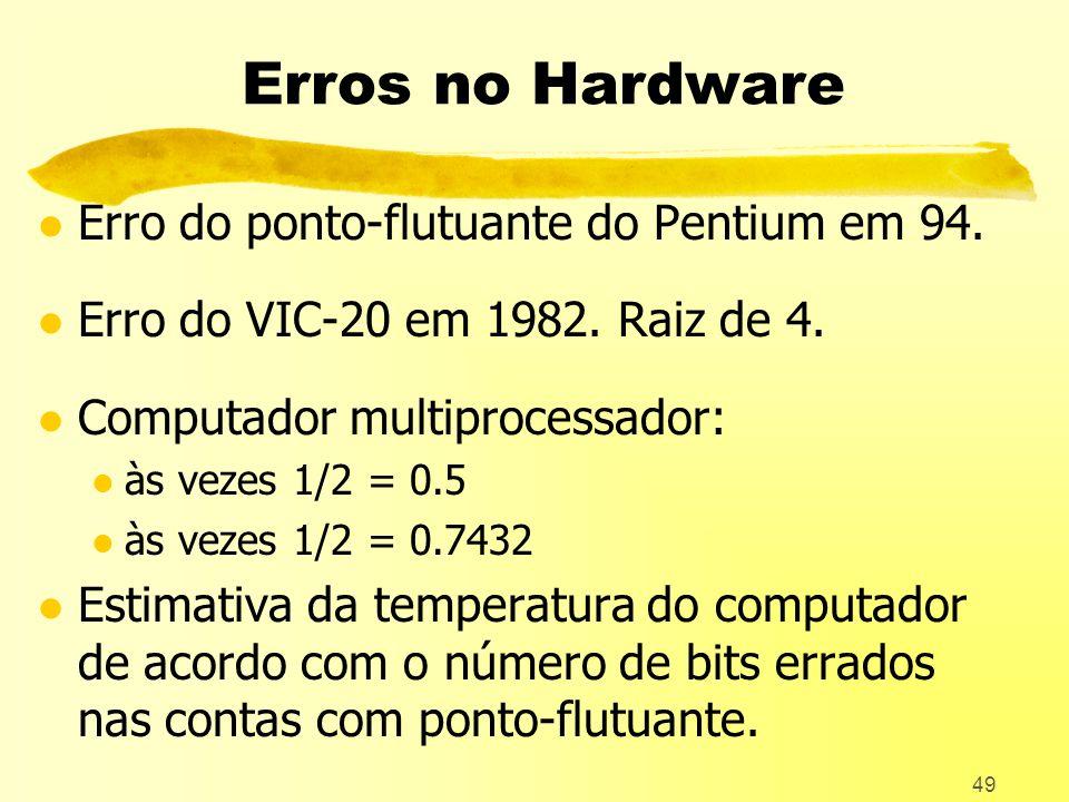 49 Erros no Hardware l Erro do ponto-flutuante do Pentium em 94.